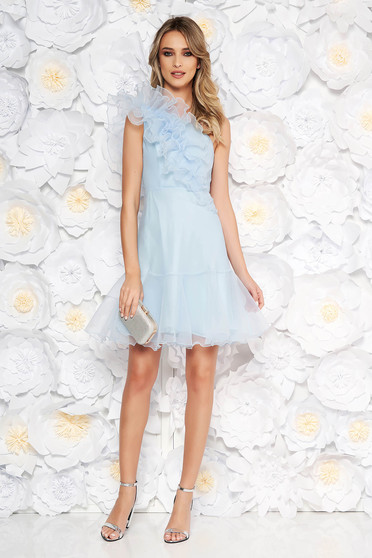 Ana Radu lightblue occasional short cut dress transparent fabric with ruffles on the chest