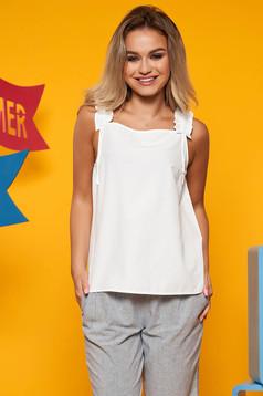 White casual flared women`s blouse nonelastic cotton