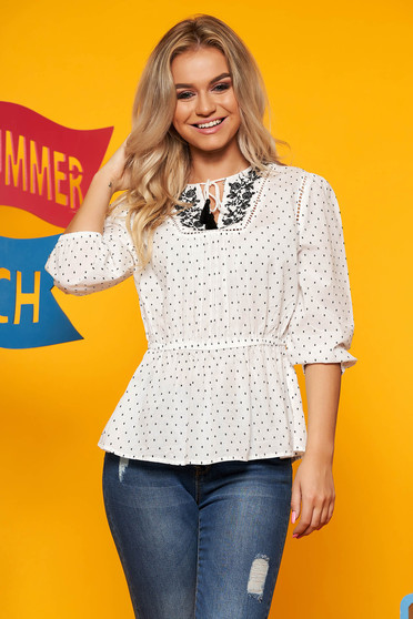 Top Secret white flared women`s blouse 3/4 sleeve nonelastic cotton with frilled waist