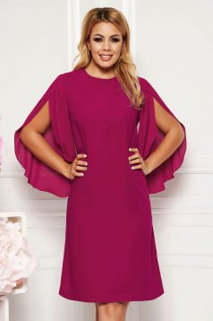Purple elegant flared dress 3/4 sleeve transparent sleeves