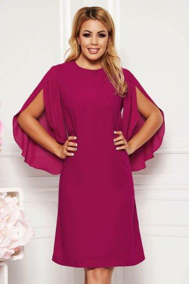 Purple elegant flared dress 3/4 sleeve transparent sleeves
