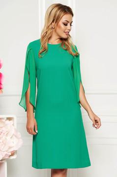 Green elegant flared dress 3/4 sleeve transparent sleeves
