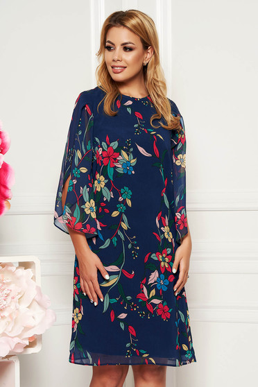 Darkblue elegant flared dress 3/4 sleeve voile fabric with floral prints