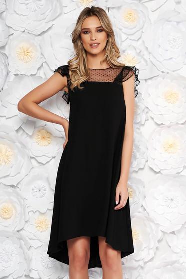 Black dress elegant flared asymmetrical thin fabric