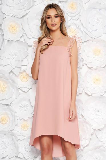 Peach dress elegant flared asymmetrical thin fabric