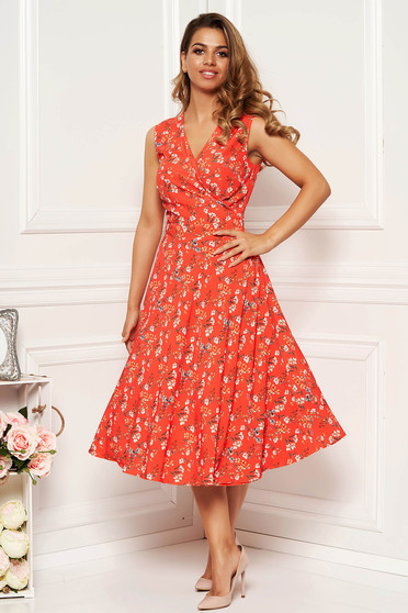 Coral daily cloche dress with v-neckline soft fabric with floral prints