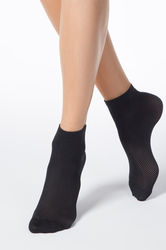 Black socks from elastic fabric net stockings