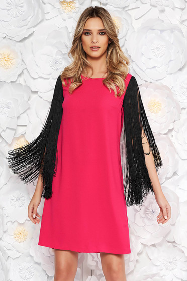 Coral occasional dress flared nonelastic fabric with fringes