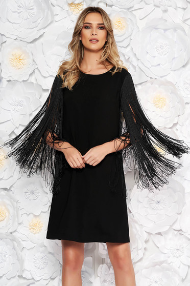 Black occasional dress flared nonelastic fabric with fringes
