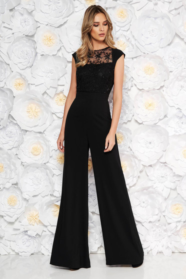 Black occasional jumpsuit flaring cut short sleeve from laced fabric with sequin embellished details