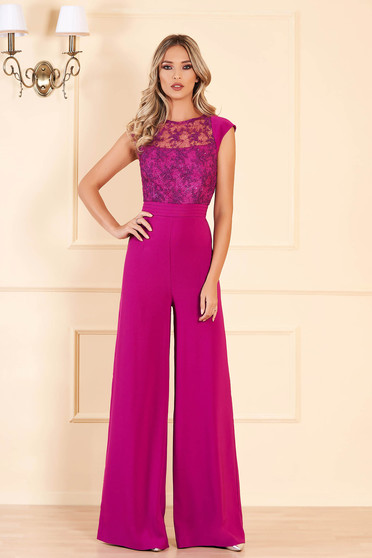 Purple occasional jumpsuit flaring cut short sleeve from laced fabric with sequin embellished details