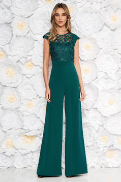 Darkgreen occasional jumpsuit flaring cut short sleeve from laced fabric with sequin embellished details