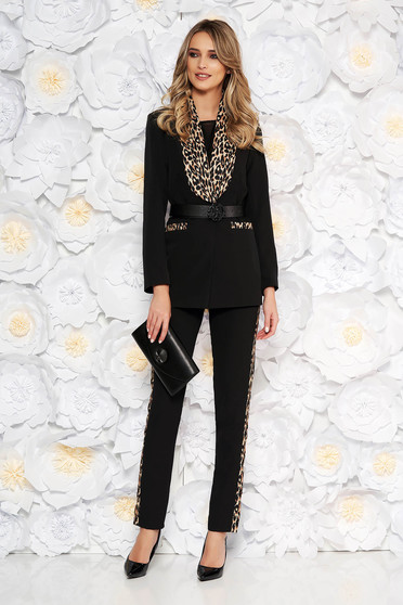 Black lady set from 2 pieces with trousers arched cut accessorized with belt