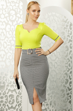 Fofy lightgreen office with tented cut women`s shirt elastic cotton with v-neckline with bow accessories