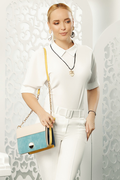 Fofy white elegant women`s blouse with easy cut with 3/4 sleeves with a collar