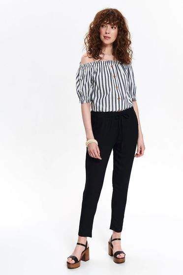 Black trousers casual medium waist with laced details