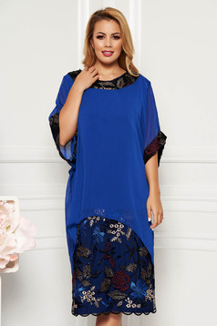 Blue elegant lady set with straight cut voile overlay with embroidery details