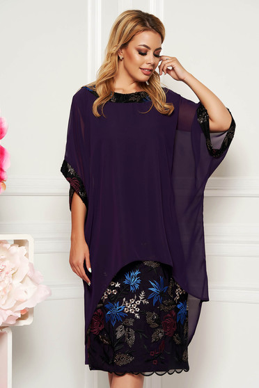 Purple elegant lady set with straight cut voile overlay with embroidery details
