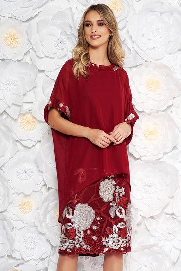 Burgundy elegant lady set with straight cut voile overlay with embroidery details