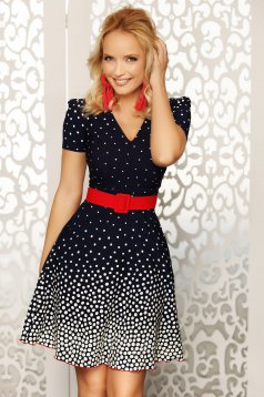 Fofy red elegant daily cloche dress with a cleavage short sleeves accessorized with belt