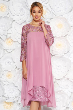 Rosa occasional dress straight with laced sleeves slightly elastic fabric from veil fabric