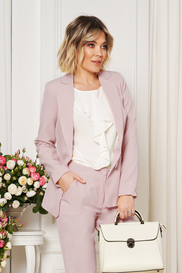 Lila jacket with inside lining office from non elastic fabric arched cut