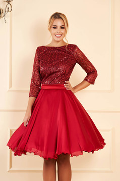 Artista burgundy occasional cloche dress transparent sleeves from laced fabric with sequin embellished details