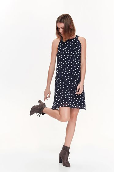 Top Secret darkblue daily flared sleeveless dress voile fabric with dots print