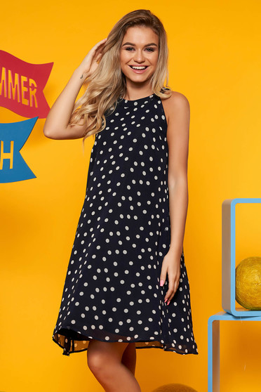 Darkblue daily flared sleeveless dress voile fabric with dots print