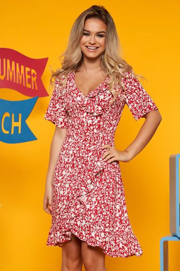 Top Secret red daily asymmetrical cloche dress airy fabric with floral prints