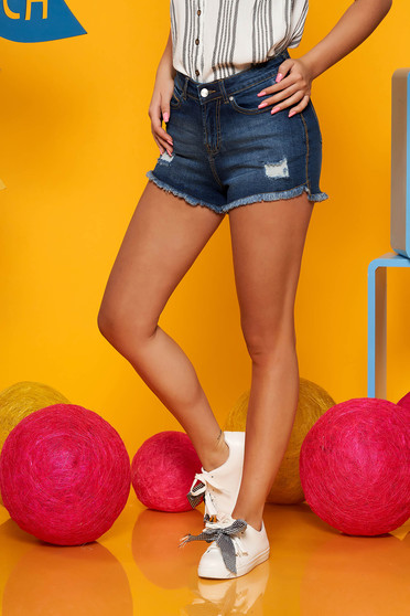 Top Secret blue denim short with ruptures high waisted with tented cut