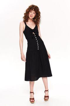 Top Secret black daily cloche dress nonelastic cotton with v-neckline with button accessories