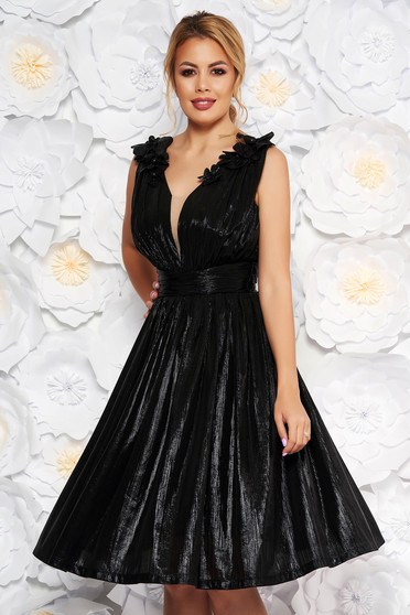 LaDonna black occasional cloche dress with v-neckline from shiny fabric with floral details