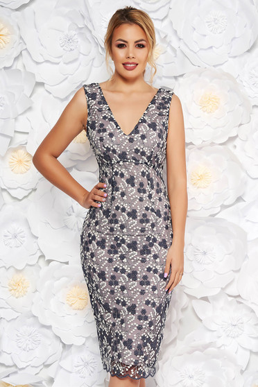 Darkblue occasional pencil dress with v-neckline from laced fabric with lame thread