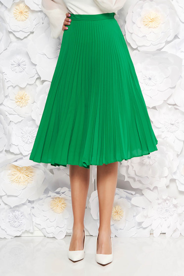 StarShinerS green elegant cloche skirt voile fabric folded up high waisted