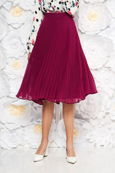 StarShinerS purple elegant cloche skirt voile fabric folded up high waisted