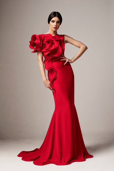 Ana Radu red occasional long mermaid dress with tented cut