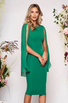 PrettyGirl green occasional pencil dress sleeveless with crystal embellished details