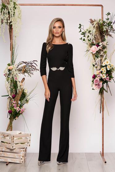 PrettyGirl black occasional jumpsuit 3/4 sleeve bare back with crystal embellished details