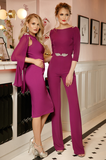 PrettyGirl purple occasional jumpsuit 3/4 sleeve bare back with crystal embellished details