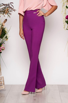 PrettyGirl purple elegant flared trousers high waisted nonelastic fabric