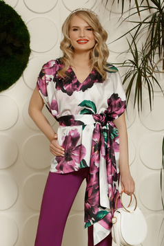 PrettyGirl purple elegant flared women`s blouse from satin fabric texture with floral prints accessorized with tied waistband