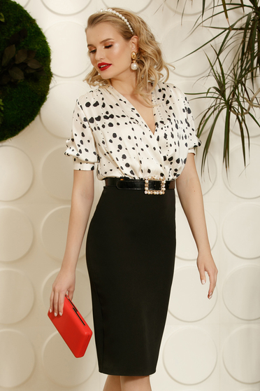 PrettyGirl black elegant pencil dress with a cleavage accessorized with belt