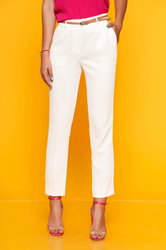Top Secret white elegant conical trousers with medium waist thin fabric