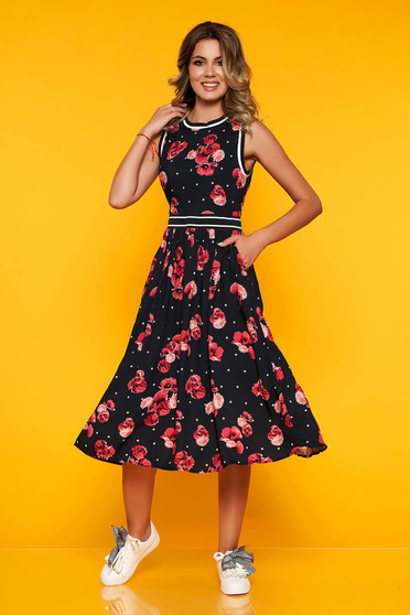Top Secret darkblue daily cloche dress airy fabric with floral prints
