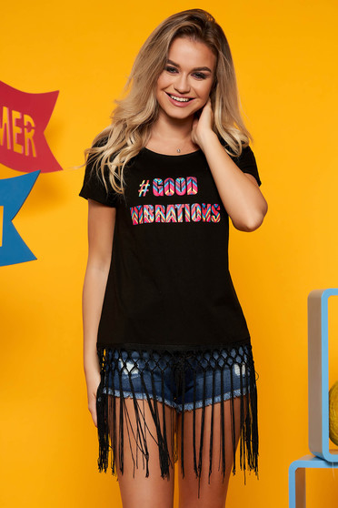 Black casual cotton flared t-shirt short sleeve with fringes at the bottom