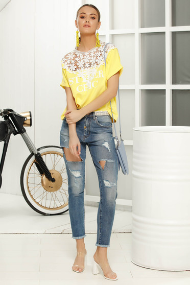 Yellow casual flared women`s blouse short sleeves