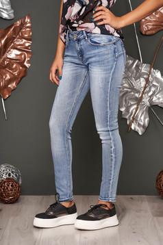 Blue jeans skinny jeans medium waist slightly elastic cotton