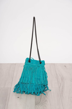 Turquoise casual bag with fringes long chain handle