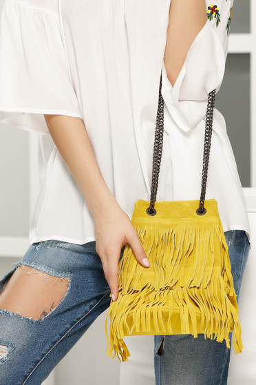 Yellow casual bag with fringes long chain handle